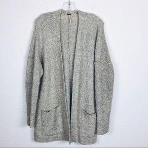 Free People Womens Open Cardigan Medium Gray Wool